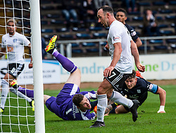 Ayr United's Mike Moffat scoring their third goal. Dundee 0 v 3 Ayr United, Scottish League Cup Second Round, played 18/8/2018 at the Kilmac Stadium at Dens Park, Scotland.