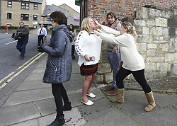 April 29, 2017 - Hartlepool, County Durham, United Kingdom - A fight breaks out between Pro EU campaigner North East for Europe (in black leggings) and a UKIP party supporter (centre, red skirt) in Hartlepool, County Durham, before UKIP leader P. Nuttall heads out on the campaign trail. (Credit Image: © Andrew Mccaren/London News Pictures via ZUMA Wire)