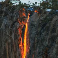 Sunset light on Horsetail Falls in February, Yosemite National Park, California.