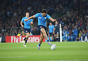 Michele Campagnaro (Italy's centre) thinking he might be playing football instead of rugby during the Rugby World Cup Pool D match between France and Italy at Twickenham, Richmond, United Kingdom on 19 September 2015. Photo by Matthew Redman.