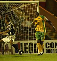 Photo: Aidan Ellis.<br /> Rochdale v Norwich City. Carling Cup. 28/08/2007.<br /> Norwich Dion Dublin watches his equliser go in the goal