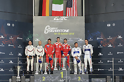 August 19, 2018 - Silverstone, Angleterre - 51 AF CORSE (ITA) FERRARI 488 GTE EVO GTE PRO ALESSANDRO PIER GUIDI (ITA) JAMES CALADO (GBR) WINNER LMGTE PRO..#91 PORSCHE GT TEAM (DEU) PORSCHE 911 RSR GTE PRO RICHARD LIETZ (AUT) GIANMARIA BRUNI (ITA) SECOND LMGTE PRO..#67 FORD CHIP GANASSI TEAM UK (USA) FORD GT GTE PRO ANDY PRIAULX (GBR) HARRY TINCKNELL (GBR) THIRD LMGTE PRO (Credit Image: © Panoramic via ZUMA Press)