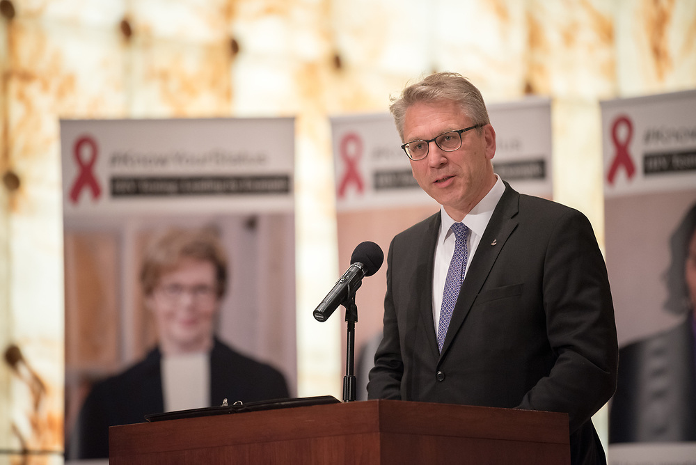 """12 September 2017, New York, USA: On 12 September, leaders from a variety of faiths and confessions gathered at the Interchurch Center Chapel in New York, for an interfaith prayer service on the theme """"Leading by Example: Faith and HIV Testing"""". Here, Rev. Dr Olav Fykse Tveit from the World Council of Churches."""