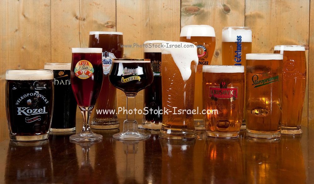 A variety of European Beers in their traditional glasses