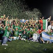 Bursaspor players and supporters celebrate their championship after their match against Besiktas at Ataturk Stadium in Bursa, Turkey, 16 May 2010.