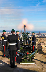 To commemorate the Queen's accession to the throne on 6th February 1952 a 21-Gun Royal Salute takes place at Edinburgh Castle. <br /> <br /> The Queen becomes the first British monarch to reach their Sapphire Jubilee.<br /> <br /> Prior to the Royal Salute a Guard Mounting takes place on the Castle Esplanade.<br /> <br /> <br /> (c) Richard Dyson| Edinburgh Elite media