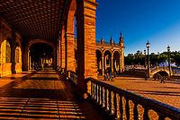 Plaza de Espana, Parque Maria Luisa, Seville, Andalusia, Spain.
