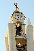 The bell and clock tower of the Resurrection of Christ Orthodox Cathedral of Tirana. Triana, Albania. 02Sep15
