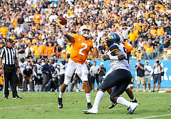Sep 1, 2018; Charlotte, NC, USA; Tennessee Volunteers quarterback Jarrett Guarantano (2) throws a pass for a touchdown during the second quarter against the West Virginia Mountaineers at Bank of America Stadium. Mandatory Credit: Ben Queen-USA TODAY Sports