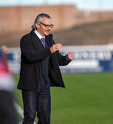 Clyde's manager Danny Lennon at the end. Arbroath 0 v 2 Clyde, Tunnocks Caramel Wafer Challenge Cup 4th Round, played 12/10/2019 at Arbroath's home ground, Gayfield Park.