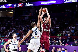 Anthony Randolph of Slovenia vs Kristaps Porzingis of Latvia during basketball match between National Teams of Slovenia and Latvia at Day 13 in Round of 16 of the FIBA EuroBasket 2017 at Sinan Erdem Dome in Istanbul, Turkey on September 12, 2017. Photo by Vid Ponikvar / Sportida