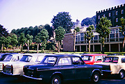Cars parked in car park of County Hall, Matlock, Derbyshire, England, Uk in 1967