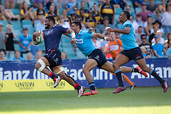 March 17, 2018 - Sydney, NSW, U.S. - SYDNEY, NSW - MARCH 18: Rebels player Amanaki Mafi (8) scores a try in the corner at round 5 of the Super Rugby between Waratahs and Rebels at Allianz Stadium in Sydney on March 18, 2018. (Photo by Speed Media/Icon Sportswire) (Credit Image: © Speed Media/Icon SMI via ZUMA Press)
