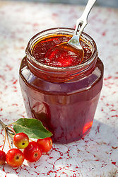 Crab apple jelly in a jar