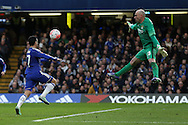 Goalkeeper Wilfredo Caballero of Manchester City attempts to stop Pedro of Chelsea from scoring. The Emirates FA Cup, 5th round match, Chelsea v Manchester city at Stamford Bridge in London on Sunday 21st Feb 2016.<br /> pic by John Patrick Fletcher, Andrew Orchard sports photography.