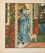 """Goody Two Shoes by Walter Crane Published in London & New York by George Routledge and Sons 1874. The History of Little Goody Two-Shoes is a children's story published by John Newbery in London in 1765. The story popularized the phrase """"goody two-shoes"""" as a descriptor for an excessively virtuous person or do-gooder. The fable tells of Goody Two-Shoes, the nickname of a poor orphan girl named Margery Meanwell, who goes through life with only one shoe. When a rich gentleman gives her a complete pair, she is so happy that she tells everyone that she has """"two shoes"""". Later, Margery becomes a teacher and marries a rich widower. This earning of wealth serves as proof that her virtue has been rewarded, a popular theme in children's literature of the era"""
