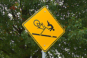 Street sign warning cyclists of railroad crossing, Vancouver, Washington