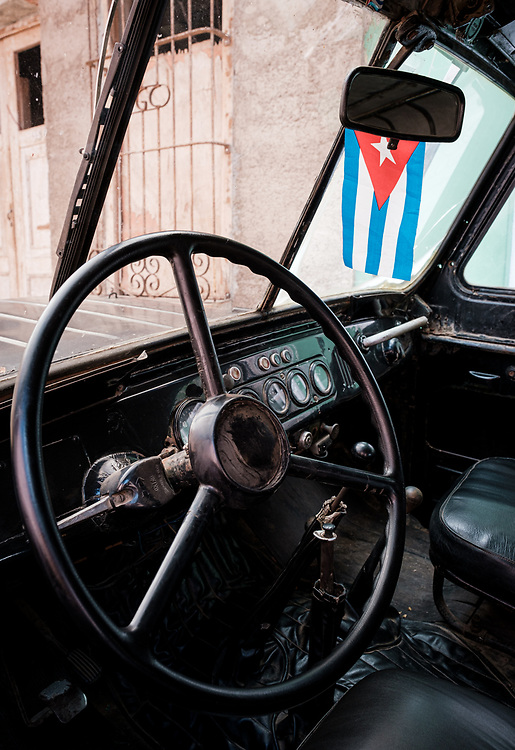 TRINIDAD, CUBA - CIRCA JANUARY 2020: Detail of interior of old car in Trinidad.