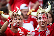 Fans of Denmark during the 2018 FIFA World Cup Russia, Group C football match between Denmark and France on June 26, 2018 at Luzhniki Stadium in Moscow, Russia - Photo Thiago Bernardes / FramePhoto / ProSportsImages / DPPI