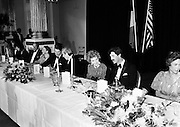 A banquet for the visit of President and Mrs Reagan was held in Dublin Castle, Dame Street, Dublin. Here Ronald and Nancy Reagan engage Taoiseach Garret FitzGerald and Tánaiste Dick Spring in conversation.<br />