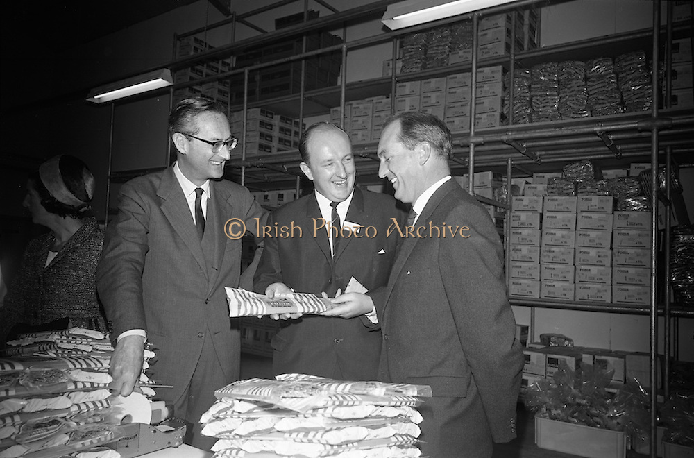 10/10/1966<br /> 10/10/1966<br /> 10 October 1966<br /> Opening of new Roma Foods Products Ltd. factory at Finglas, Dublin. Picture shows  (l-r): Baron Vittoro Guicciardi, Italian Ambassador; Mr. Patrick Meade, Managing Director and Mr. George Colley, Minister for Industry and Commerce, examining the pasta products.