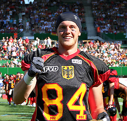 16.07.2011, Ernst Happel Stadion, Wien, AUT, American Football WM 2011, Germany (GER) vs France (FRA), im Bild Niklas Römer (Germany, #84, WR) became MVP of team germany from the game // during the American Football World Championship 2011 game, Germany vs France, at Ernst Happel Stadion, Wien, 2011-07-16, EXPA Pictures © 2011, PhotoCredit: EXPA/ T. Haumer