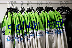 National jerseys in Dressing room of Team Slovenia at the 2017 IIHF Men's World Championship, on May 11, 2017 in AccorHotels Arena in Paris, France. Photo by Vid Ponikvar / Sportida