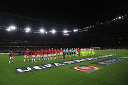 14 September 2017 -  UEFA Europa League (Group H) - Arsenal v FC Koln - Alexis Sanchez of Arsenal stands apart from the rest of the squad as they line up for the pre match handshake - Photo: Marc Atkins/Offside