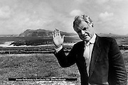 Teddy waves goodbye from Dingle.....Senator Ted Kennedy  waves goodbye to Dingle in 1989 after spending a weeks holiday in the area. He is pictured overlloking Clogher Strand on Slea Head in County Kerry.  Senator Kennedy loved Kerry and stayed with family firends oftne attending the Dingle Races, Dingle regatta and enjoying a pint in Krugers Pub. He took his new girlfriend (now his wife Victoria) on their first foreign holiday to Dingle in 1989. They married three years later in 1992.<br /> Picture by Don MacMonagle