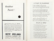 All Ireland Senior Hurling Championship Final,.07.09.1958, 09.07.1958, 7th September 1958,.Minor Galway v Limerick, .Senior Galway v Tipperary, Tipperary 4-09. Galway 2-05,..Advertisement, New Ireland Assurance Company Ltd,..A Toast to Claddagh,