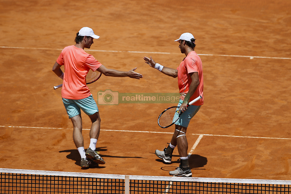 May 6, 2018 - Estoril, Portugal - Wesley Koolhof  from Netherlands (L)  and Artem Sitak from New Zealand  (R) celebrate a point in their doubles match against Kyle Edmund and Cameron Norrie from Great Britain during the Millennium Estoril Open ATP doubles final tennis match in Estoril, near Lisbon, on May 6, 2018. (Credit Image: © Carlos Palma/NurPhoto via ZUMA Press)