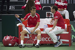 September 15, 2017 - Biel, Schweiz - Biel, 15.09.2017, Tennis, Davis Cup, Schweiz - Weissrussland, Marco Chiudinelli und Severin Lüthi (SUI) (Credit Image: © EQ Images via ZUMA Press)