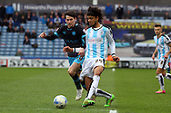 Philip Billing of Huddersfield Town passes the ball back to his goal keeper. Skybet football league Championship match, Huddersfield Town v Sheffield Wednesday at the John Smith's Stadium in Huddersfield, Yorkshire on Saturday 2nd April 2016.<br /> pic by Chris Stading, Andrew Orchard sports photography.