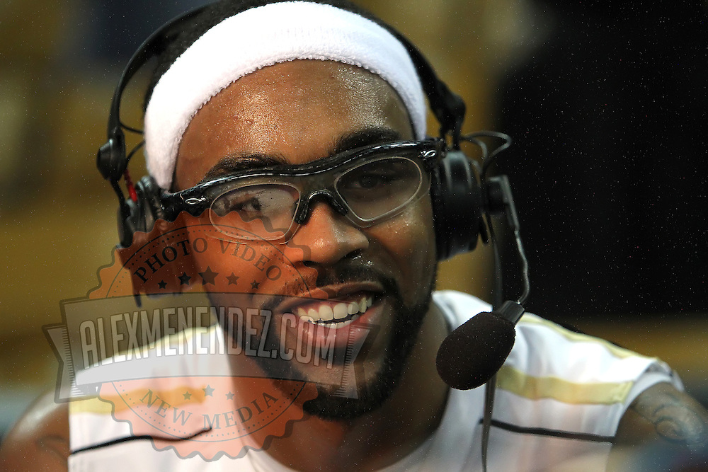 Central Florida guard Marcus Jordan (5) gets interviewed by television reporters after a Conference USA NCAA basketball game between the Marshall Thundering Herd and the Central Florida Knights at the UCF Arena on January 5, 2011 in Orlando, Florida. Central Florida won the game 65-58 and extended their record to 14-0.  (AP Photo/Alex Menendez)