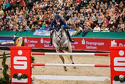 DEUSSER Daniel (GER), Jasmien vd Bisschop<br /> Leipzig - Partner Pferd 2020<br /> Longines FEI Jumping World Cup™ presented by Sparkasse<br /> Sparkassen Cup - Großer Preis von Leipzig FEI Jumping World Cup™ Wertungsprüfung <br /> Springprüfung mit Stechen, international<br /> Höhe: 1.55 m<br /> 19. Januar 2020<br /> © www.sportfotos-lafrentz.de/Stefan Lafrentz