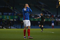 Football - 2020 / 2021 Sky Bet League One - Portsmouth vs. Peterborough United - Fratton Park<br /> <br /> Portsmouth's Ryan Williams holds his face after waisting a chance in the first half at Fratton Park <br /> <br /> COLORSPORT/SHAUN BOGGUST