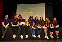 Advisor Jessica Conrad with students from the Stand Up Sachems group during an assembly at LHS Wednesday morning.  (Karen Bobotas/for the Laconia Daily Sun)