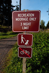 Moorage Sign, Jones Island State Park, San Juan Islands, Washington, US