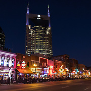 Music Row stores and bars are seen in downtown Nashville, Tennessee on Friday, November 13, 2015. (Alex Menendez via AP)