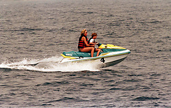 The Princess of Wales and Prince Harry jetskiing.<br /> <br /> Photo.  Anwar Hussein