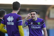 Norwich City forward Jordan Hugill  (9)  makes a point to a team mate during the EFL Sky Bet Championship match between Wycombe Wanderers and Norwich City at Adams Park, High Wycombe, England on 28 February 2021.