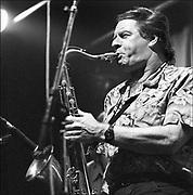 Nederland, Nijmegen, 15-8-1990Saxofonist Hans Dulfer tijdens een live optreden.Foto: Flip Franssen/Hollandse Hoogte