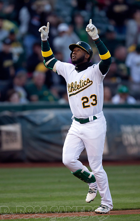 Sep 7, 2019; Oakland, CA, USA; Oakland Athletics Jurickson Profar (23) celebrates his solo home run against the Detroit Tigers during the second inning of a baseball game at Oakland Coliseum. Mandatory Credit: D. Ross Cameron-USA TODAY Sports