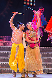 "© Licensed to London News Pictures. 29/01/2014. London, England. Picture: Carol Furtado and Sushant Pujari dancing. The show ""The Merchants of Bollywood"" returns to the Peacock Theatre/Sadler's Wells from 28 January to 15 February 2014. Photo credit: Bettina Strenske/LNP"