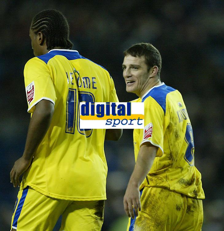 Photo: Aidan Ellis.<br /> Sheffield Wednesday v Cardiff City. Coca Cola Championship. 09/11/2005.<br /> Cardiff's Jason Koumas celebrates the third goal with scorer Cameron Jerome