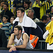 Fenerbahce Ulker's Omer ONAN (C) and Darjus LAVRINOVIC (B) during their Turkish Basketball league derby match  Fenerbahce Ulker between Besiktas at Sinan Erdem Arena in Istanbul, Turkey, Saturday, March 12, 2011. Photo by TURKPIX