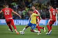 Philippe Coutinho of Brazil and Sergej Milinkovic-Savic, Nemanja Matic, Dusan Tadic of Serbia during the 2018 FIFA World Cup Russia, Group E football match between Erbia and Brazil on June 27, 2018 at Spartak Stadium in Moscow, Russia - Photo Thiago Bernardes / FramePhoto / ProSportsImages / DPPI