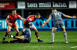 George Worth of Leicester Tigers is tackled by Owen Lane of Cardiff Blues<br /> <br /> Photographer Simon King/Replay Images<br /> <br /> European Rugby Challenge Cup Round 2 - Cardiff Blues v Leicester Tigers - Saturday 23rd November 2019 - Cardiff Arms Park - Cardiff<br /> <br /> World Copyright © Replay Images . All rights reserved. info@replayimages.co.uk - http://replayimages.co.uk