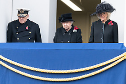 © Licensed to London News Pictures. 12/11/2017. London, UK. The DUKE OF EDINBURGH,  HRH QUEEN ELIZABETH II<br /> and CAMILLA DUCHESS OF CORNWALL attend a Remembrance Day Ceremony at the Cenotaph war memorial in London, United Kingdom, on November 13, 2016 . Thousands of people honour the war dead by gathering at the iconic memorial to lay wreaths and observe two minutes silence. Photo credit: Ray Tang/LNP