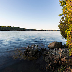 The shoreline of Great Bay at Adams Point in Durham, New Hampshire.